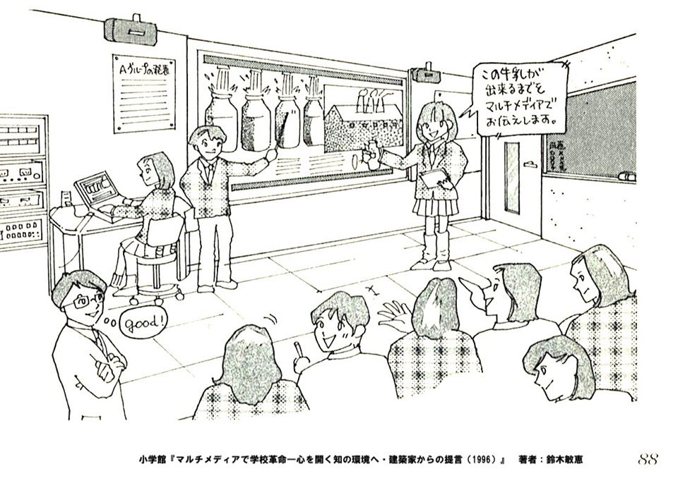 マルチメディアで学校革命ー心を開く知の環境へ・建築家からの提言のイメージイラスト